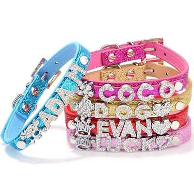 Bling Dog Cat Pet Leather Name Collar Chihuahua Yorkie TerrierNEW
