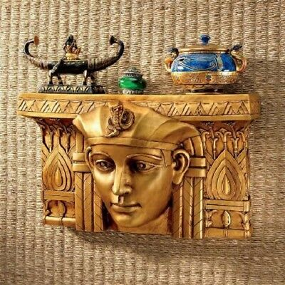 Ancient Replica Exhaulted Pharaoh 1920's Egyptian Revival Wall Pediment Shelf