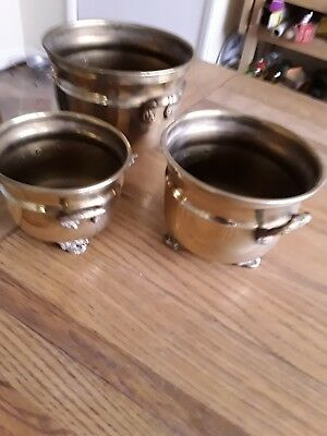 Vintage Set Of Three Brass pots/containers combined weight 890grams