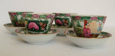 Vintage Asian Hot Saki or Hot Tea Set of 4 Pink and Green Tea Cups