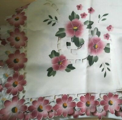 Pretty Vintage Small  Cut Work Embroidered Tablecloth and 4 Napkins.