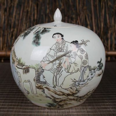 Chinese Dynasty Old handwork Painting Playing music Porcelain Storage Pot Jars