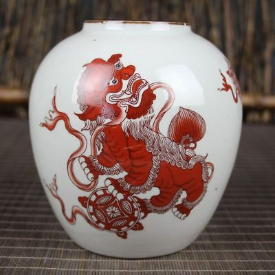 China Dynasty Red glaze Porcelain hand Painting Double lion play ball Pot Jars