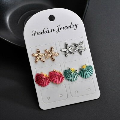 4Pairs Assorted Boho Ear Stud Earrings Colorful Sea Shell Starfish Beach Jewelry