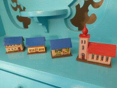 Super Rare Lot of 4 Vintage Cardboard Miniature East Germany Dollhouses Church