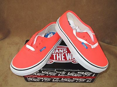 f9abab94cd99fa New Vans Authentic Neon Skate Shoe Neon Coral french Blue Youth 11Y