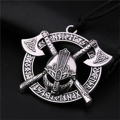 Pagan Celtic Men Viking Axe Helmet Pendant Necklace Odin Slavic Amulet Taliman