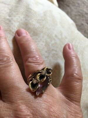 Vintage 18KT GE Marked Lily Gold Purple Crystal Marquise & CZ Ring Signed Sz 8