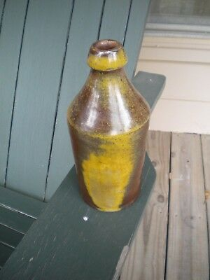 Antique Mid 1800s Quart Stoneware Beer Bottle Rare Redware Glaze Great Look