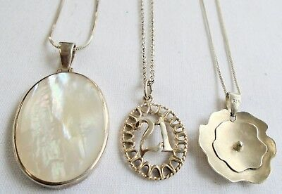 Three fine sterling silver pendants (m-o-p, 21, flower) & sterling chains