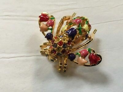 Joan Rivers Multi Color Enamel Tulip Bee Pin ~ New in Box