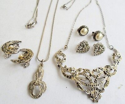 Good quality vintage silver metal & marcasite necklace + earrings + pendant