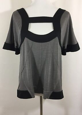 Marc By Marc Jacobs Black and Gray Cut Out Blouse 100% Spun Silk Size Large