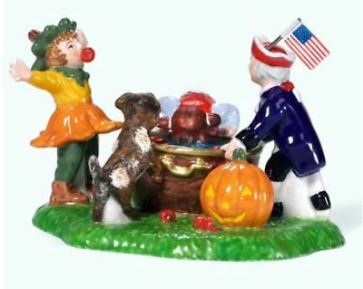 Halloween Village Dept 56 Snow BOBBING FOR APPLES game with kids MIB 2003