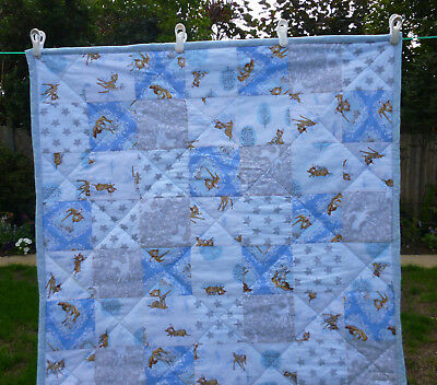 Handmade Patchwork Cot Quilt or Playmat Bambi and Thumper Blue Baby Boy