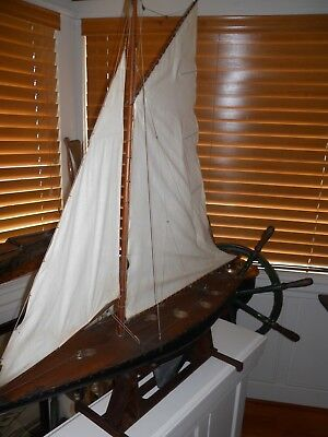 1900's Antique Pond Boat Model On Stand