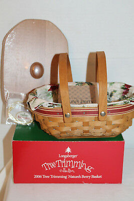 New 2006 Longaberger Nature's Berry Basket, Lid, Fabric, Tie-On, Protector, Box