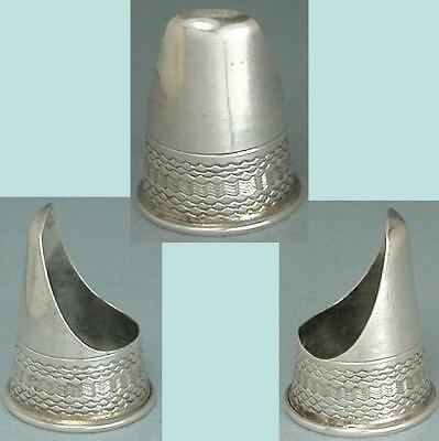 Antique English Sterling Silver Child's Finger Guard Thimble * Circa 1870