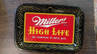 Vintage MILLER HIGH LIFE Beer Advertising Tip Tray Champagne of Bottle Beer