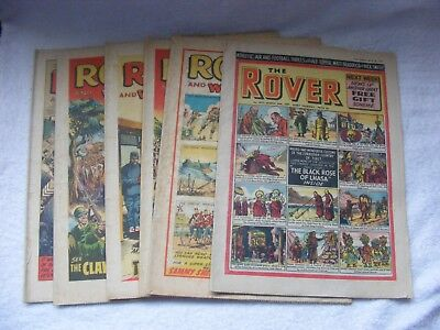 6 vintage Rover Comics from the 1950's/1960/s