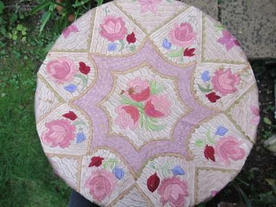 Antique Hungarian Matyo Hand Embroidered Table Cover Silk Pinks Floral Folk  Art