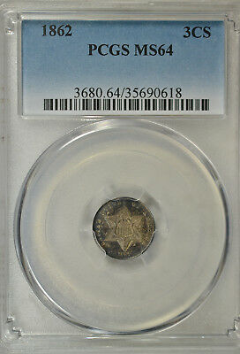 1862 3 cent silver, Type III, PCGS MS64