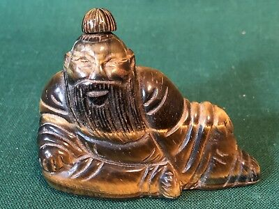 Beautiful Vintage Carved Chinese Tiger Eye Stone Snuff Bottle Old Man Sitting