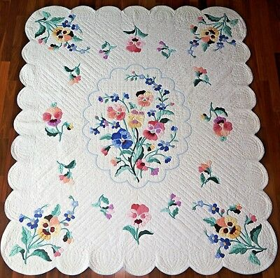 1930 APPLIQUED PANSIES QUILT Vintage/Antique BEST of the BEST from JANN's QUILTs