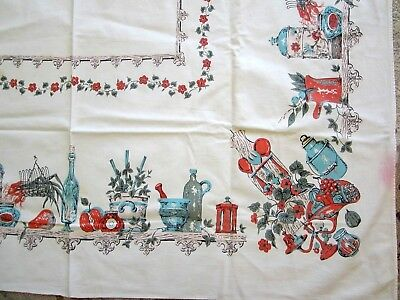 "Vintage tablecloth with border print of kitchen items on a shelf 50"" x 46"""