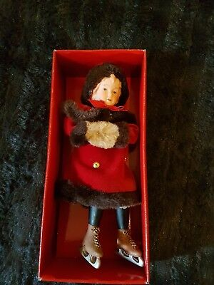 Ice Skating Christmas Doll in Red Dress