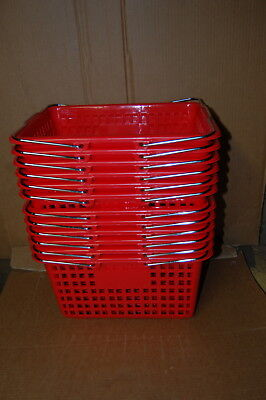 Shopping Baskets Plastic - Chrome Handle - 12 RED NEW - FREE Shipping