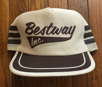 Vtg Bestway 3 Stripe Mesh Trucker Hat Snapback Hat USA Made