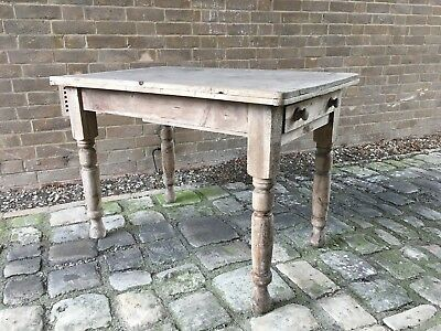 Antique Victorian Farmhouse Cottage Pine Table Vintage Chabby Chic