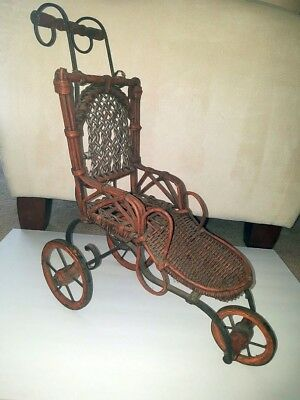 Wicker wood and metal doll accessory - stroller or wheelchair  1800's