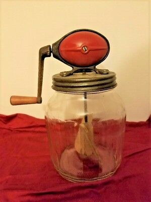 Vintage Dazey Butter Churn #4 Red Football Top With Wood Paddle