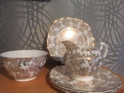 Royal Vale white & gold floral/ filigree milk jug, sugar bowl & tea plates