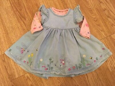 Mothercare Baby Girls Floral Bodysuit & Bunny Pinafore Newborn / Up To 1 Month