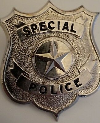 Silver Metal Vintage Special Police Badge Screwback Toy Costume Military Officer