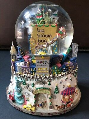 Bloomingdale's Big Brown Bag NYC Snow Globe-Plays Music with Lights on Base