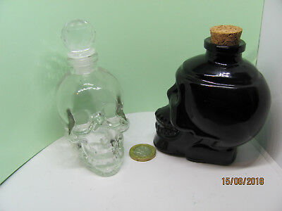 2 Glass Skull Witches Spell Potion Bottles Black & Clear Halloween Pagan Witch