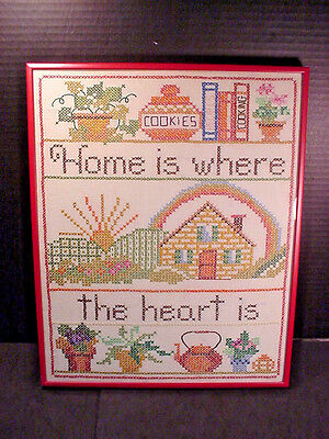 Home is Where the Heart is Vintage Sampler Cross Stitch X Framed