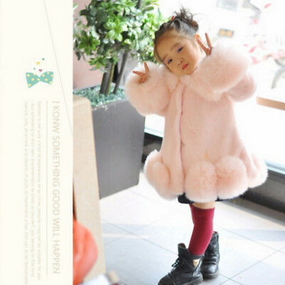 Kids Girls Faux Fur Furry Warm Jacket Parka Children Trench Coat Winter Outwear
