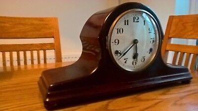 "Antique clock Napoleons hat with full Westminster chimes 9"" high x 18"" long"