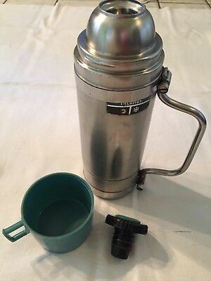 Vintage Thermos Stainless Steel Vacuum Bottle w/Cup & Handle Qt Sz