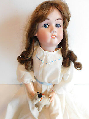 VTg Bisque & Wood Body  Max Handwerck Doll Germany W French Hair Wig 23 ""