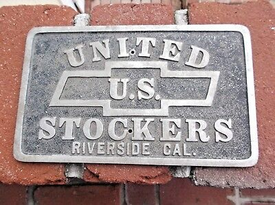 Vintage United Us Stockers Riverside Cal Car Plaque