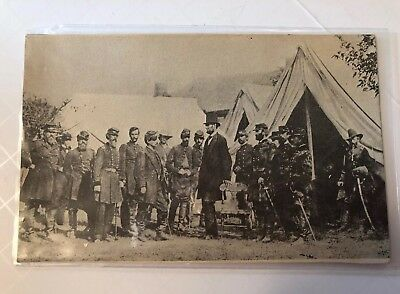 Postcard with Abraham Lincoln  With Soldiers From 7th Cavalry .