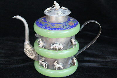 Decoration Exquisite Miao Silver Carve Whole Body Small Animals Beauty Teapot