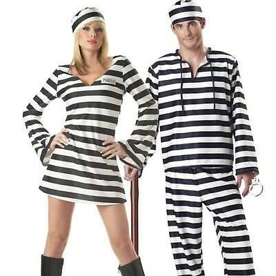Couples Convict Halloween Costume - 5 pieces
