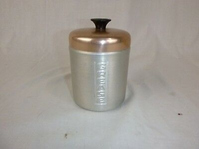 Vtg Mid Century Spun Aluminum Metal Grease Jar Canister Copper Tone Lid made in